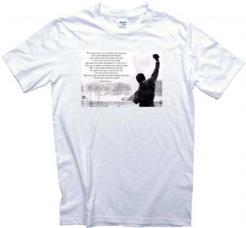 Rocky Balboa Motivational Movie Quotes T-Shirt. Sylvester Stallone. Adults, Ladies & Kids Sizes